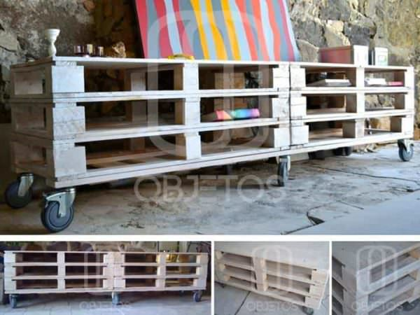 Pallets Mobile TV Stand Pallet TV Stand & Rack