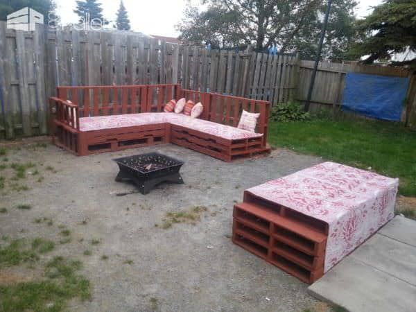 Pallets Sofa Around The Fire Pit Lounges & Garden Sets Pallet Sofas & Couches