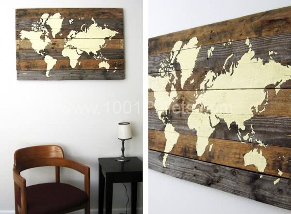 Pallet Board World Map Pallet Wall Decor & Pallet Painting