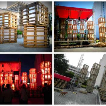 Huge lights for a summer festival made from pallets