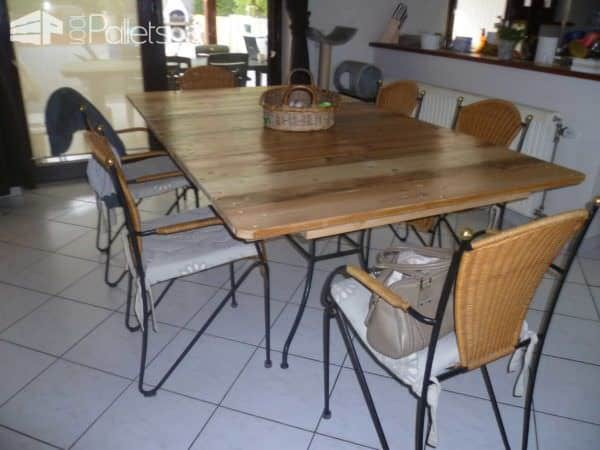 My new dining room pallet table ma nouvelle table de salle a manger palle - Table a manger palette ...