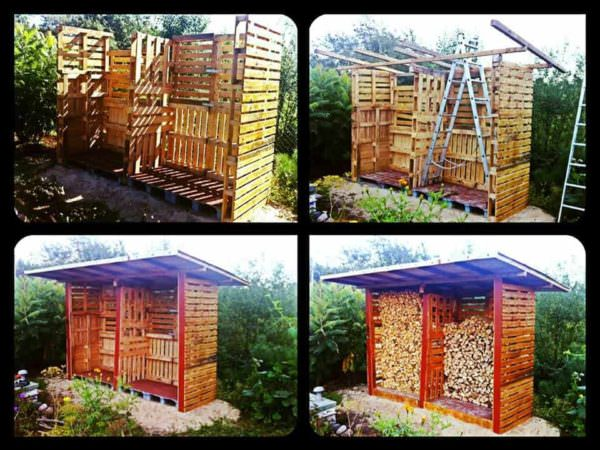 Pallet Firewood Shed Pallet Sheds, Cabins, Huts & Playhouses