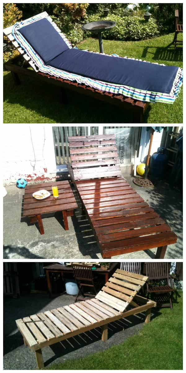 sun lounger small table from discarded pallets pallet