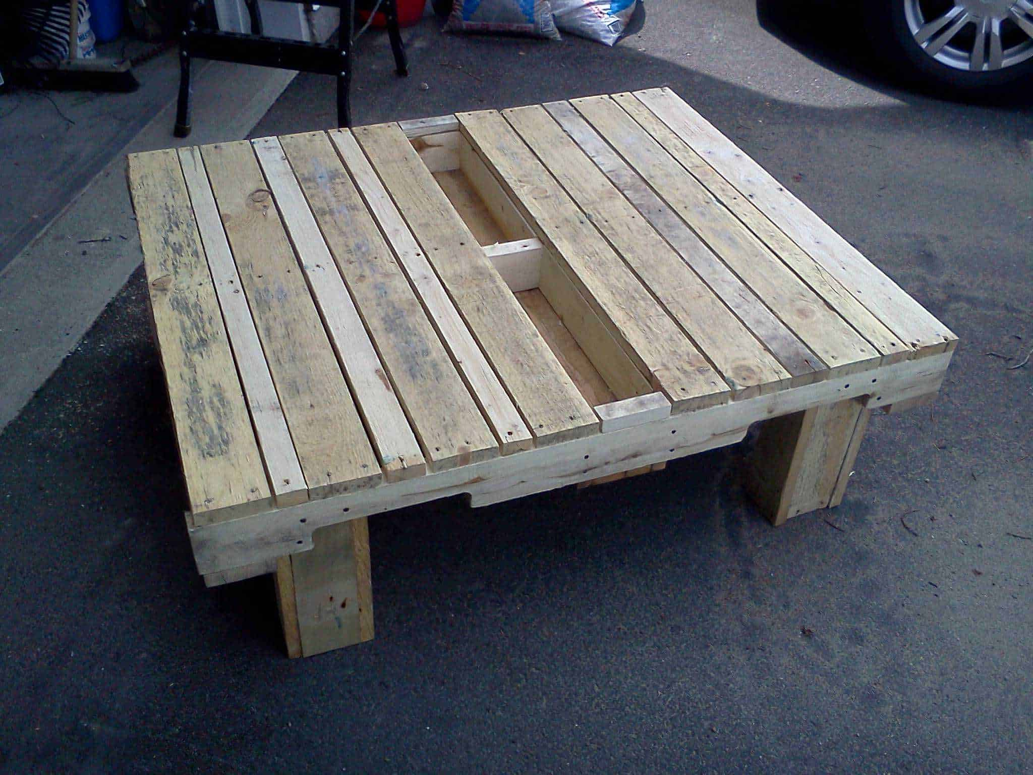 Table basse de jardin garden coffee table pallet ideas - Transformer palette table basse ...