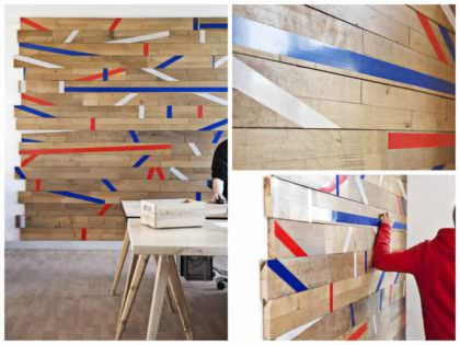 wall decoration made out of a repurposed gym floor • 1001