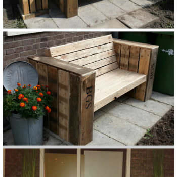 Lounge Bench & Two Large Planter Boxes Made Of Recycled Pallet Wood