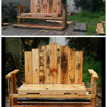 Swinging Bench From Discarded Pallet Wood