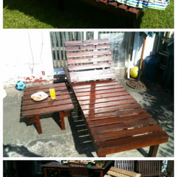 Sun Lounger & Small Table From Discarded Pallets