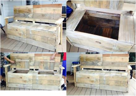 From 5 Pallets To 1 Great Bench With Storage Pallet Benches, Pallet Chairs & Pallet Stools