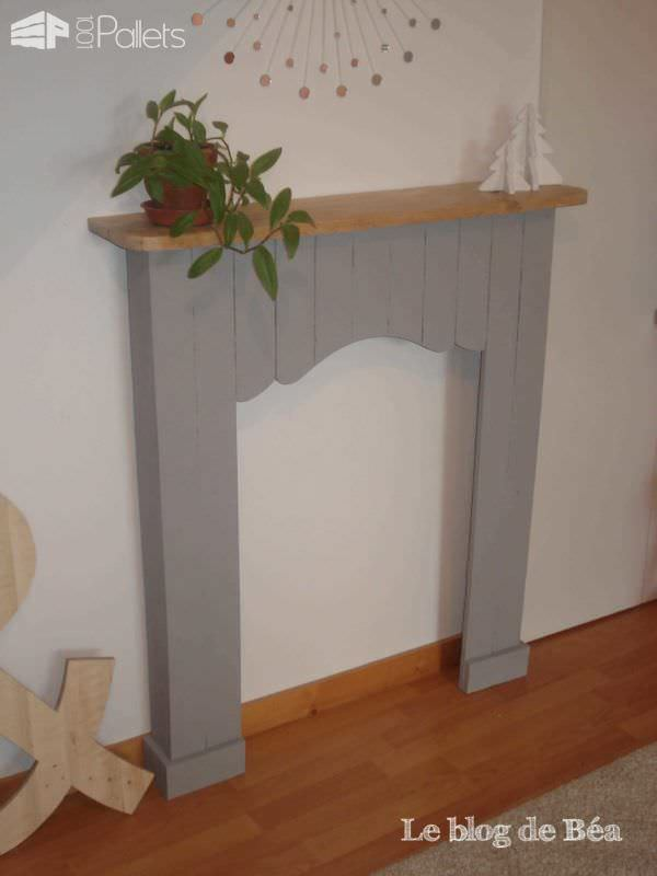 Decorative fireplace from pallet wood fausse chemin e en bois de palette 1001 pallets - Fausse cheminee decorative ...