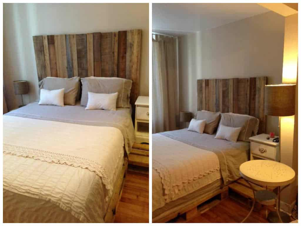headboard barn wood spring bed pallets t te de lit bois de grange sommier palettes. Black Bedroom Furniture Sets. Home Design Ideas