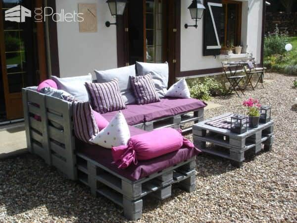 Pallets garden lounge salon de jardin en palettes europe for Palet jardin salon mesa
