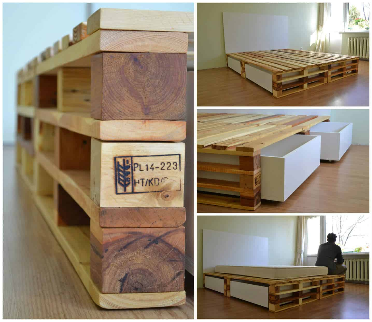 simple pallets bed 1001 pallets. Black Bedroom Furniture Sets. Home Design Ideas