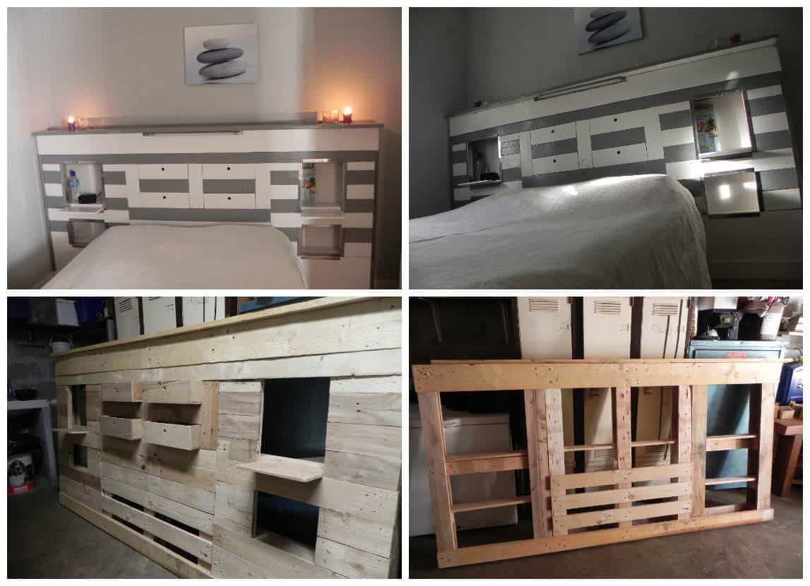 t te de lit en palette pallets bed headboard 1001 pallets. Black Bedroom Furniture Sets. Home Design Ideas