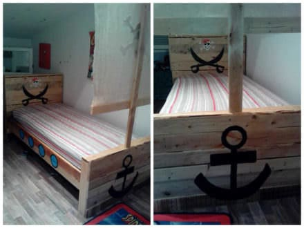 Toddler Pirate Pallet Bed