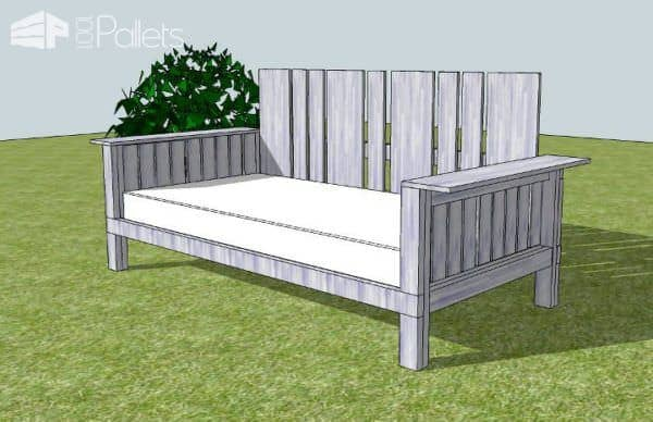 Outdoor Daybed Made From Pallets & Reclaimed Wood Pallet Sofas