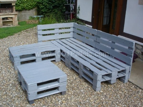 Pallets garden lounge salon de jardin en palettes europe - Construction salon de jardin en palette ...