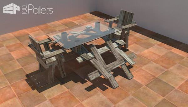Leona Table + 1452 Chair DIY Pallet Furniture