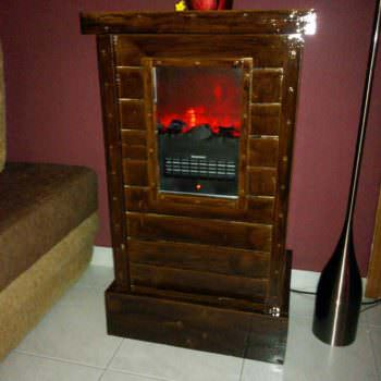 Pallet Cabinet for Electric Fireplace Device