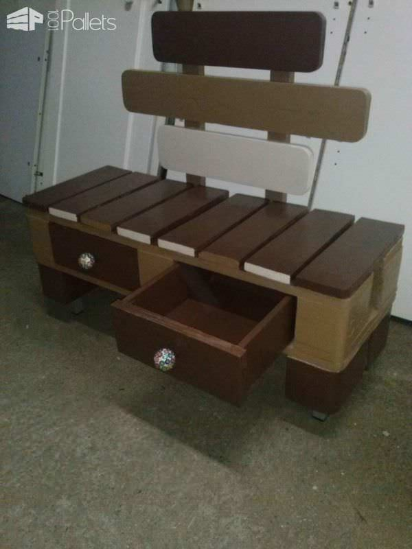 Pallet Stool With Drawers Pallet Benches, Pallet Chairs & Stools