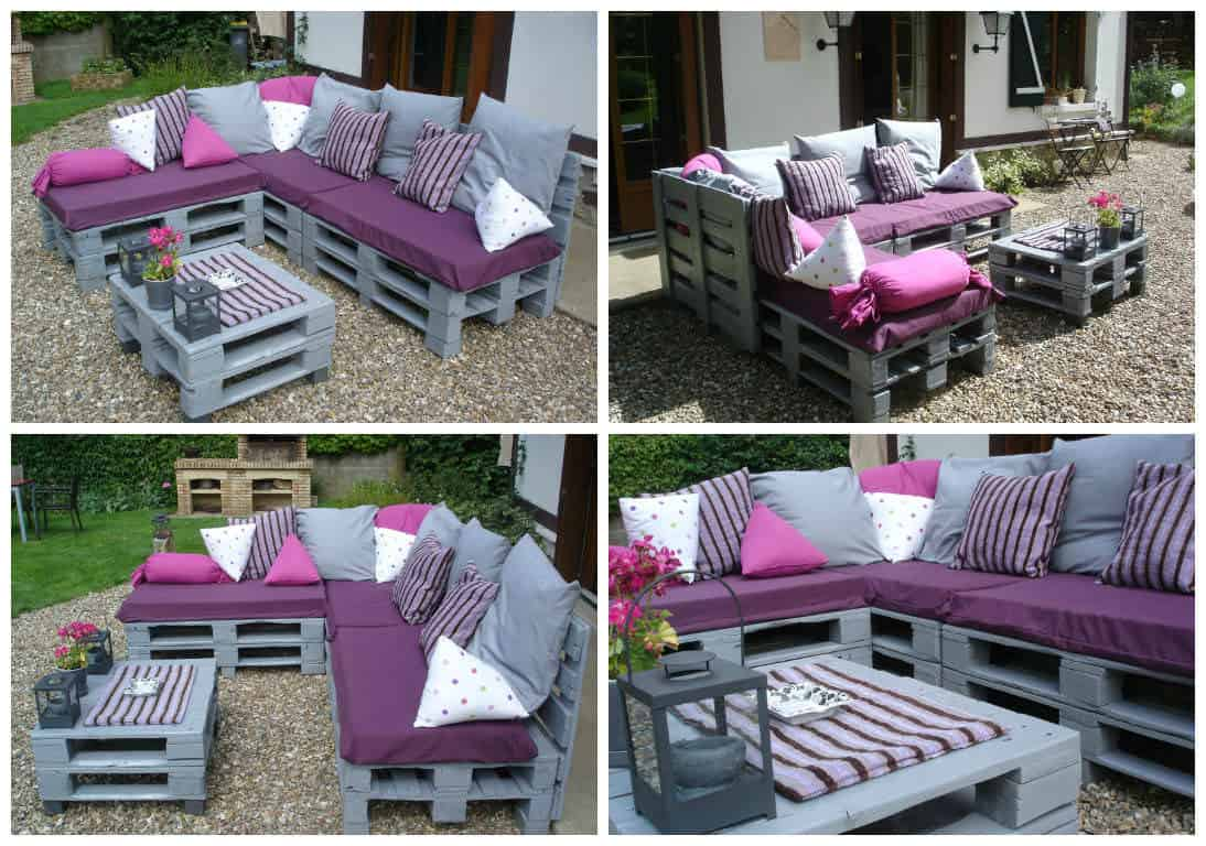 Pallets garden lounge salon de jardin en palettes europe for Meuble patio palette