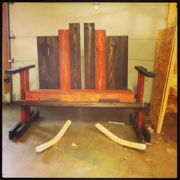 Swinging Bench From Repurposed Pallets Pallet Benches, Pallet Chairs & Stools