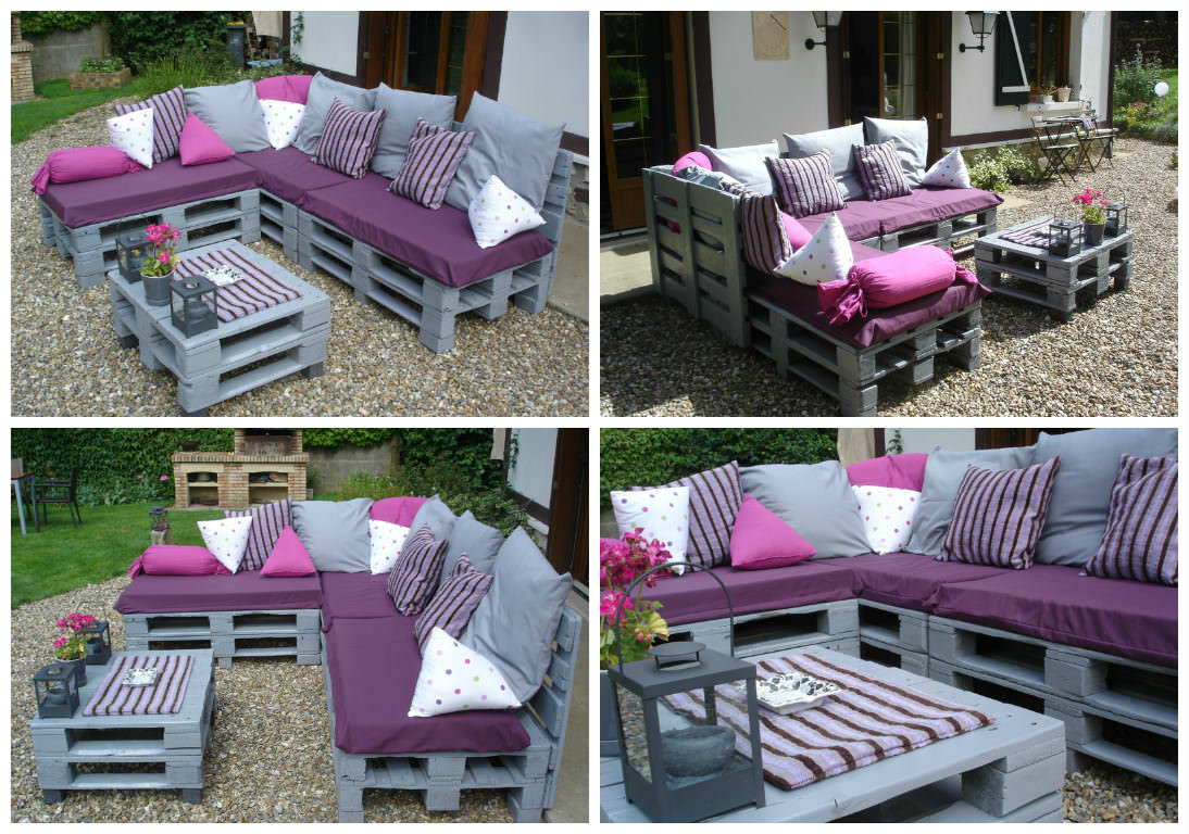 Pallets garden lounge salon de jardin en palettes europe for Salon jardin palette