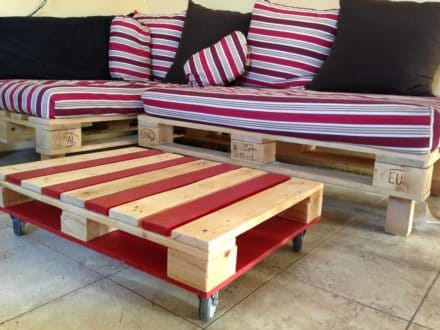 Colored Pallet Coffee Table