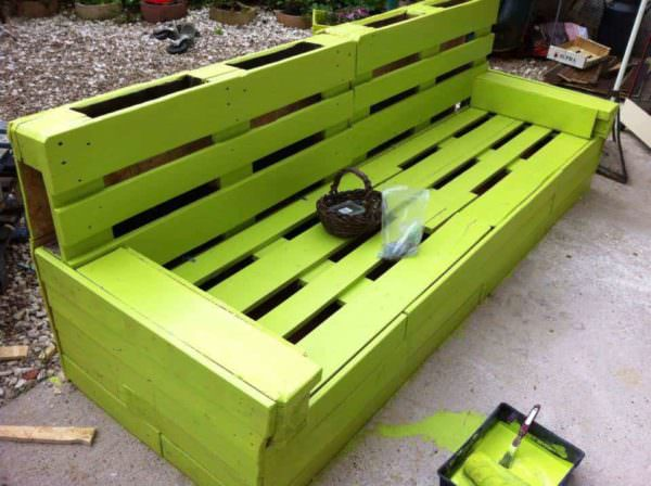 Green Garden Pallet Bench Pallet Benches, Pallet Chairs & Stools
