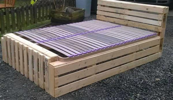 Idea for a Pallet Bed Frame DIY Pallet Bed Headboard & Frame