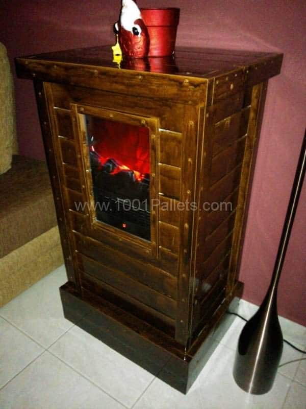 Pallet Cabinet for Electric Fireplace Device Pallet Cabinets & Wardrobes