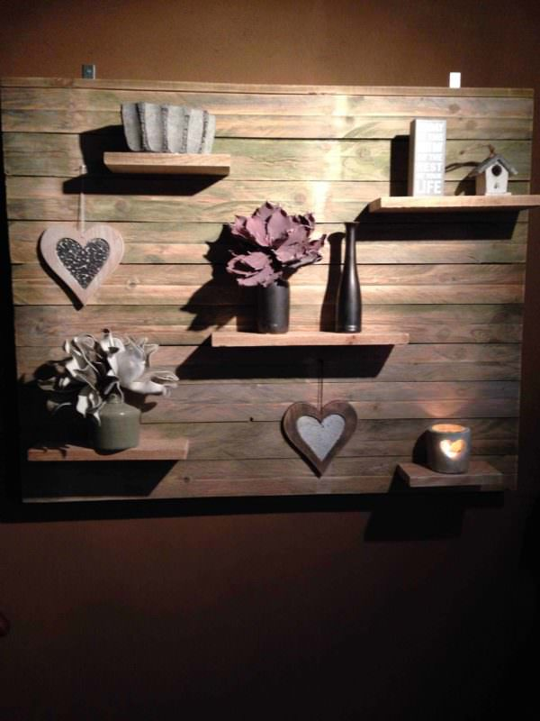 Pallet Wall Decoration with Shelves Pallet Shelves & Pallet Coat Hangers
