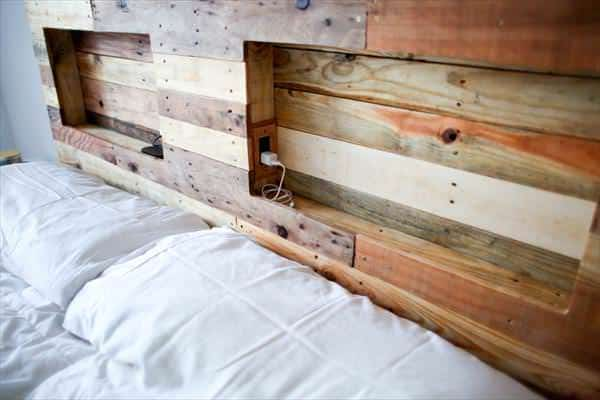 Pallets Bed Headboard with Integrated Lightning DIY Pallet Bedroom - Pallet Bed Frames & Pallet Headboards
