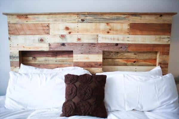 Pallets Bed Headboard with Integrated Lightning DIY Pallet bed headboard and frame - Pallet Bedroom
