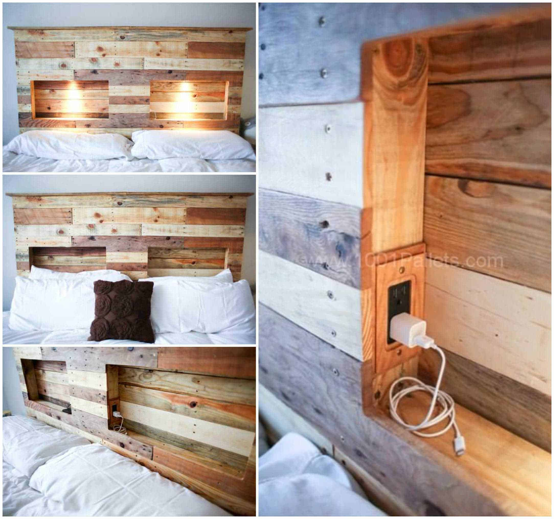 Pallets Bed Headboard With Integrated Lightning 1001