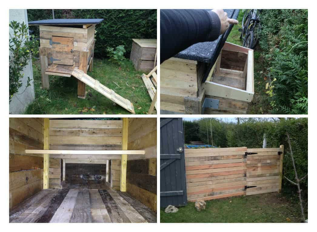 pallets chicken coop fence poulailler et palissade en palettes 1001 pallets. Black Bedroom Furniture Sets. Home Design Ideas