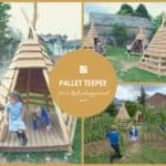 Pallets + Logs = Teepee for a Kids Playground