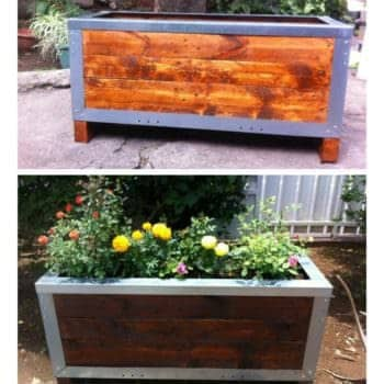 Planter Out of Reclaimed Pallets & Metal