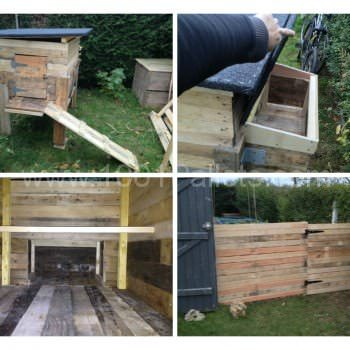 Pallets Chicken coop and fence / Poulailler et palissade en palettes