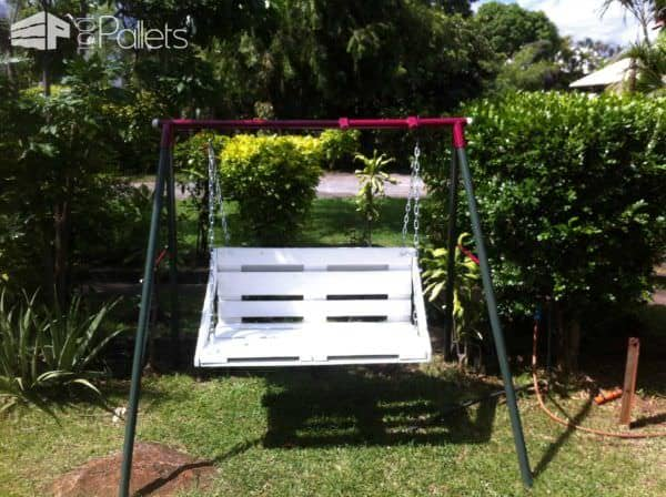 Children Swing Transformed With Repurposed Pallet Fun Pallet Crafts for Kids