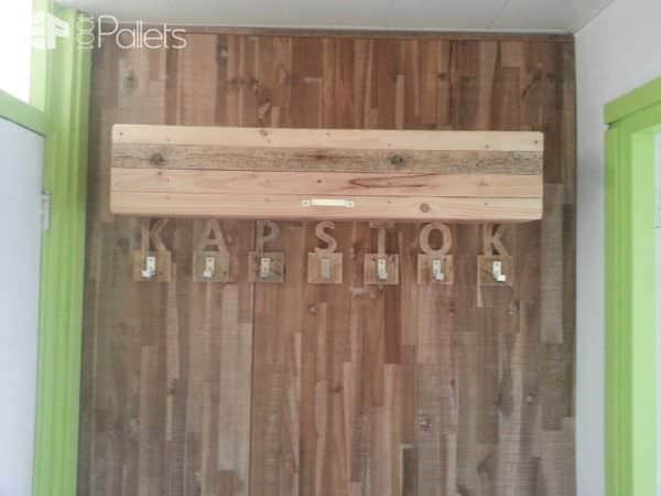 Coat Rack Made from Upcycled Pallet Wood Pallet Shelves & Pallet Coat Hangers