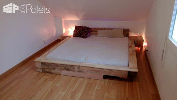 Pallet Bed Frame DIY Pallet Bed Headboard & Frame
