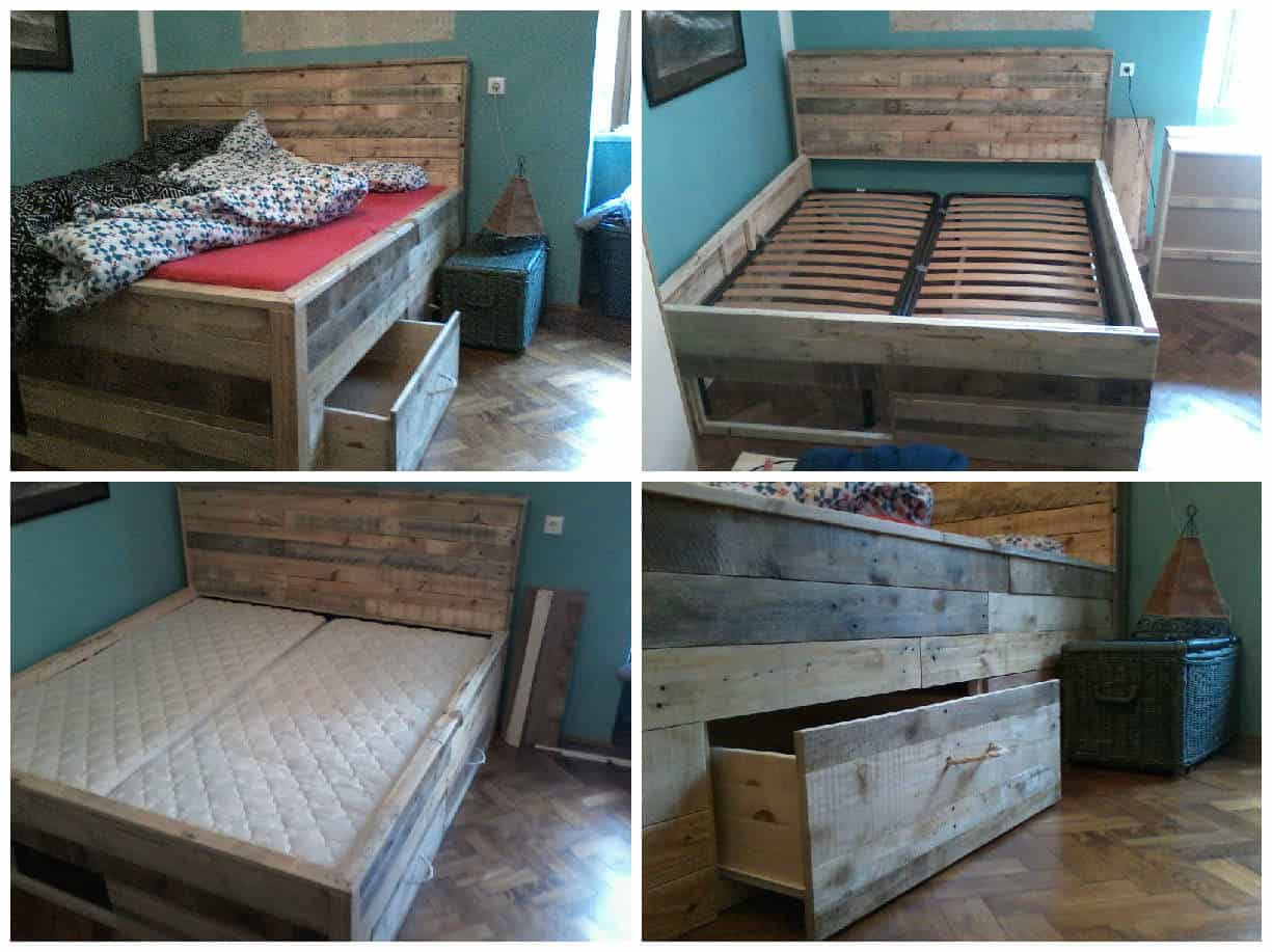 Pallet bed with drawers 1001 pallets for Pallet drawers diy