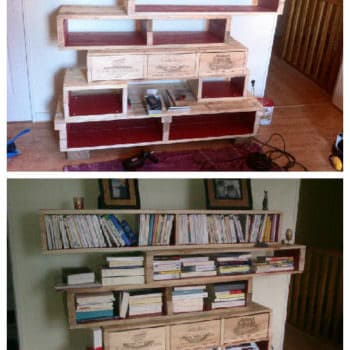 Pallet Bookshelves With Wine Boxes