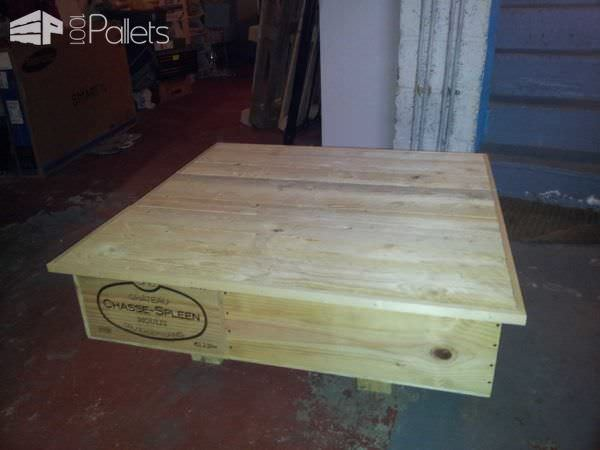 Upcycled Wine Box Into Coffee Table With Pallet Top Pallet Coffee Tables