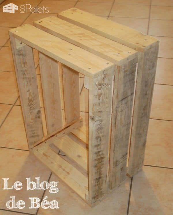diy recycled pallet bedside table 1001 pallets. Black Bedroom Furniture Sets. Home Design Ideas