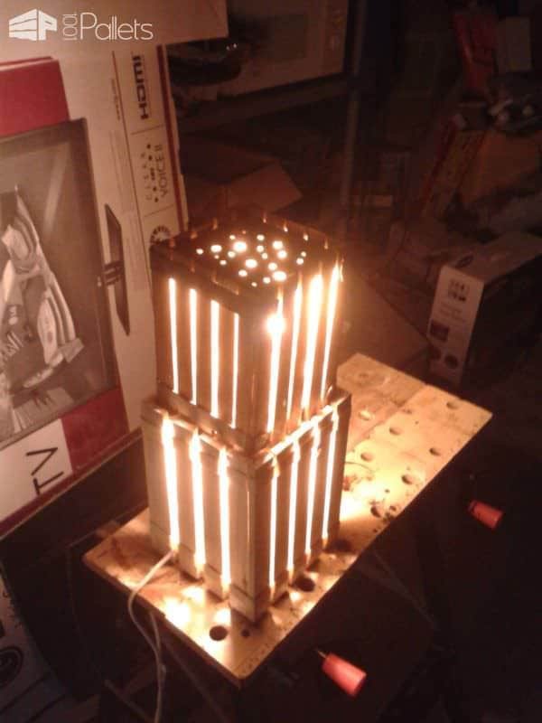 Homemade Lamps With Reclaimed Pallets Pallet Lamps & Lights