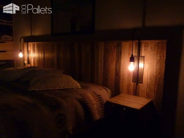 pallet bed headboard with lights t te de lit en palettes et appliques 1001 pallets. Black Bedroom Furniture Sets. Home Design Ideas