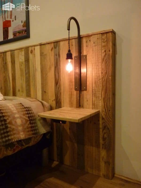 Pallet Bed Headboard With Lights T 234 Te De Lit En Palettes