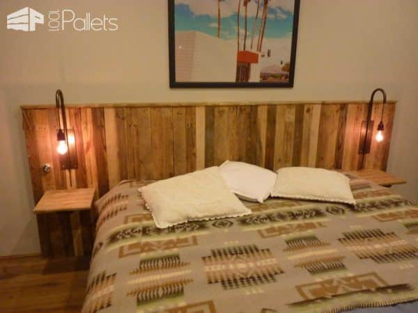 Pallet bed headboard with lights t te de lit en palettes - Tete de lit avec palette ...